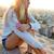 mooie · blond · meisje · vergadering · dak · mobiele · telefoon - stockfoto © nenetus