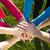 grup · gençler · el · ele · tutuşarak · yukarı · yaz · tatil - stok fotoğraf © nenetus