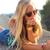 mooie · blond · meisje · vergadering · dak · outdoor - stockfoto © nenetus