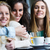 três · mulheres · jovens · primavera · sorrir · café - foto stock © nenetus