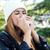portré · gyönyörű · lány · papírzsebkendő · influenza · allergia · szabadtér - stock fotó © nenetus