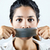 woman with mouth covered with tape concept of forbidden opinion stock photo © nenetus