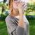 portrait of beautiful girl drinking water glass at green park stock photo © nenetus
