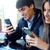 homem · sessão · amigos · telefone · móvel · concentrado · moço - foto stock © nenetus