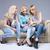 drei · Mädchen · Handys · schönen · Sitzung · Sofa - stock foto © neonshot
