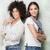 iki · gülen · genç · kızlar · paten · zaman - stok fotoğraf © neonshot