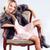 dziewczyna · włosy · stwarzające · posiedzenia · krzesło - zdjęcia stock © neonshot