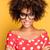 portré · fiatal · lány · afro · mosolyog · gyönyörű · afroamerikai - stock fotó © NeonShot