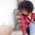 ragazza · afro · cellulare · giovani · african · american · cuffie - foto d'archivio © neonshot