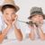 dos · hermanos · posando · juguete · sonriendo - foto stock © NeonShot