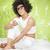 retrato · sorridente · mulher · marrom · cabelos · cacheados - foto stock © neonshot