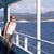 mooie · vrouw · vaarwel · schip · strand · hemel · zon - stockfoto © nessokv