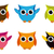 cute vector collection of bright owls stock photo © nezezon
