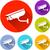 cctv · signo · azul · vector · icono · botón - foto stock © nickylarson974