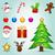 Navidad · caja · de · regalo · cute · iconos · mujer · arte - foto stock © nickylarson974