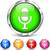 azul · podcast · botão · isolado · branco - foto stock © nickylarson974