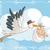 gólya · gyermek · sziluett · család · madár · madarak - stock fotó © nicoletaionescu