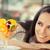 ensalada · de · fruta · postre · mujer · hermosa · sonrisa · cara - foto stock © NicoletaIonescu