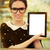 young woman with glasses showing an empty tablet screen stock photo © nicoletaionescu
