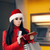 christmas woman checking her wallet in front of a bank atm stock photo © nicoletaionescu