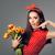 meglepődött · nő · tart · virágcsokor · fiatal · nő · rózsaszín - stock fotó © nicoletaionescu