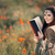 középkori · olvas · könyv · varázslatos · mező · pipacsok - stock fotó © NicoletaIonescu