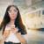 verwonderd · jonge · vrouw · beker · witte · naar - stockfoto © nicoletaionescu