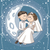 bride and groom sitting on the moon vector cartoon stock photo © nicoletaionescu