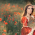beautiful princess holding mirror in summer floral landscape stock photo © nicoletaionescu