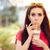 nyár · lány · kávé · ital · szalmaszál · vicces - stock fotó © NicoletaIonescu