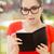 nő · szemüveg · nyugta · fekete · hosszú · élelmiszer - stock fotó © nicoletaionescu