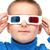 мальчика · 3d · очки · лице · телевидение · ребенка - Сток-фото © nikkos