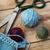 naaien · garen · rollen · weefsel · Blauw · witte - stockfoto © nikolaydonetsk