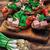 fresco · sanduíches · carne · legumes · tomates · mesa · de · madeira - foto stock © nikolaydonetsk