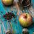 thee · bladeren · rode · appel · houten · afbeelding · vintage - stockfoto © nikolaydonetsk