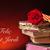 könyv · piros · rózsa · zászló · szent · nap · hagyomány - stock fotó © nito