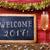 confetti, champagne and text welcome 2017 stock photo © nito