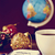 bauble cup of coffee globe and text seasons greetings stock photo © nito