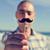 jeune · homme · faux · moustache · main · jeunes - photo stock © nito