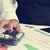 kobieta · interesu · Kalkulator · skarbonka · biurko · ceny · okulary - zdjęcia stock © nito