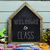 text welcome to class in a house shaped chalkboard stock photo © nito