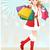 Noel · alışveriş · kız · sevimli · esmer - stok fotoğraf © norwayblue