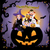 halloween children wearing costume on the huge jack o lantern at night with greeting text stock photo © norwayblue