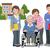 retratos · feliz · idoso · homem · cadeira · de · rodas · enfermeira - foto stock © norwayblue