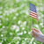 woman holding us flag in a grassland stock photo © novic