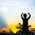 Silhouette · Radfahrer · Morgengrauen · Reiten · Mountainbike · Sport - stock foto © nuiiko