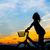 silhouet · gelukkig · meisje · buiten · paardrijden · fiets · zon - stockfoto © nuiiko