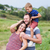 feliz · pais · risonho · mulher · grávida · sessão · sofá - foto stock © o_lypa