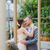 happy newlyweds kiss near the carousel stock photo © o_lypa
