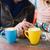 çift · kahve · sokak · kafe · kadın · adam - stok fotoğraf © o_lypa